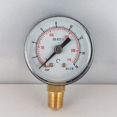 Dry pressure gauge 16 Bar diameter dn 40mm bottom