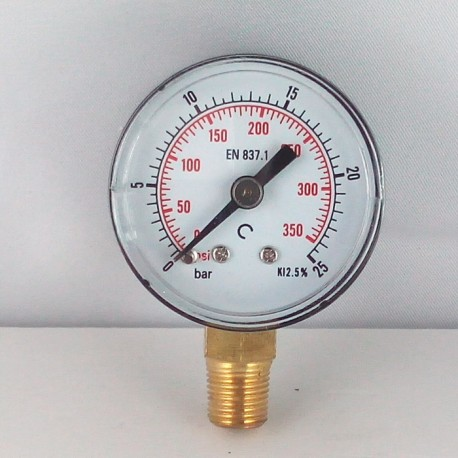 Dry pressure gauge 25 Bar diameter dn 40mm bottom
