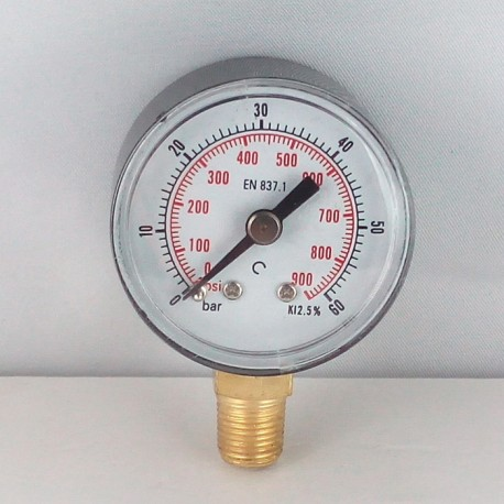 Dry pressure gauge 60 Bar diameter dn 40mm bottom