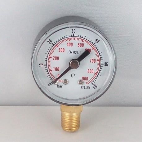 Dry pressure gauge 60 Bar diameter dn 40mm bottom