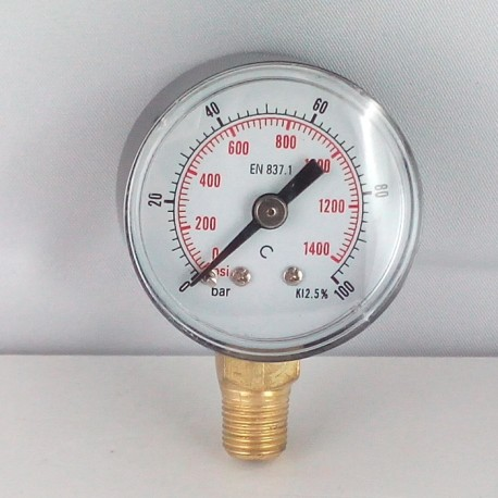 Dry pressure gauge 100 Bar diameter dn 40mm bottom