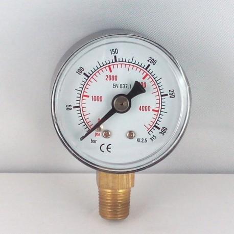 Dry pressure gauge 315 Bar diameter dn 40mm bottom