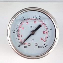 Glycerine filled pressure gauge 2,5 Bar diameter dn 63mm back