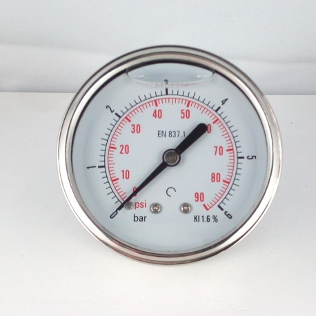 Glycerine filled pressure gauge 6 Bar diameter dn 63mm back