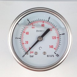 Glycerine filled pressure gauge 10 Bar diameter dn 63mm back