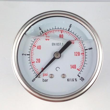 Manometro glicerina 10 Bar diametro dn 63mm posteriore