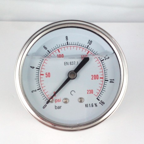 Glycerine filled pressure gauge 16 Bar diameter dn 63mm back