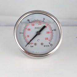Glycerine filled pressure gauge 25 Bar diameter dn 63mm back