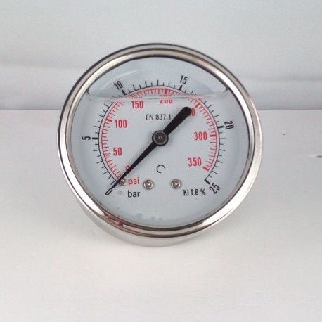 Glycerine filled pressure gauge 25 Bar diameter dn 63mm back