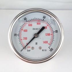 Glycerine filled pressure gauge 100 Bar diameter dn 63mm back