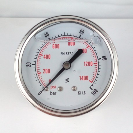 Glycerine filled pressure gauge 100 Bar diameter dn 63mm back