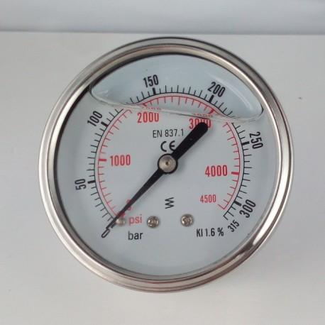 Glycerine filled pressure gauge 315 Bar diameter dn 63mm back