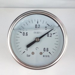 Glycerine filled vacuum gauge -1+0,6 Bar diameter dn 63mm back