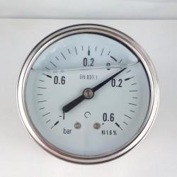Glycerine filled vacuum gauge -1+0,6 Bar diameter dn 63mm back