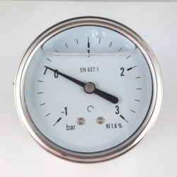 Glycerine filled vacuum gauge -1+3 Bar diameter dn 63mm back