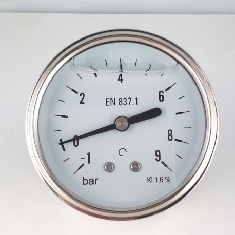 Glycerine filled vacuum gauge -1+9 Bar diameter dn 63mm back