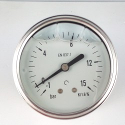 Glycerine filled vacuum gauge -1+15 Bar diameter dn 63mm back