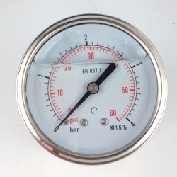 Glycerine filled pressure gauge 4 Bar diameter dn 63mm back