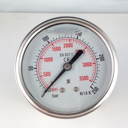 Glycerine filled pressure gauge 250 Bar diameter dn 63mm back