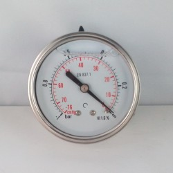 Glycerine filled vacuum gauge -1 Bar diameter dn 63mm back