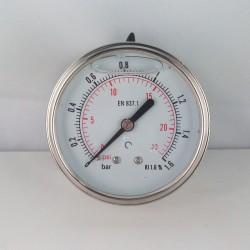 Glycerine filled pressure gauge 1,6 Bar diameter dn 63mm back