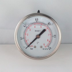 Glycerine filled pressure gauge 0,6 Bar diameter dn 63mm back