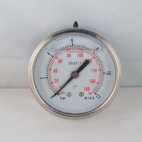 Glycerine filled pressure gauge 12 Bar diameter dn 63mm back