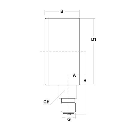 Dry pressure gauge 1 Bar diameter dn 80mm bottom connection
