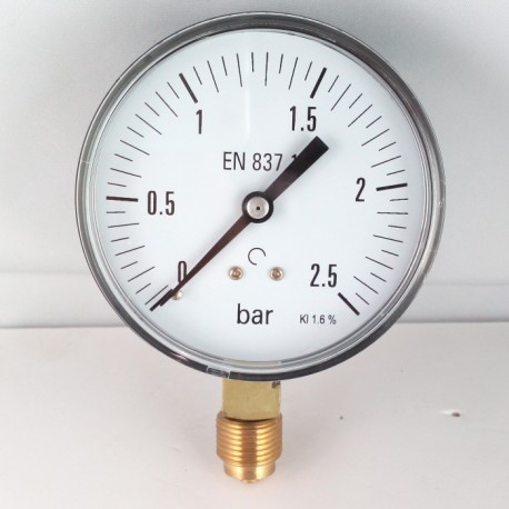 Dry pressure gauge 2,5 Bar diameter dn 80mm bottom connection