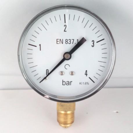 Dry pressure gauge 4 Bar diameter dn 80mm bottom connection