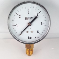 Dry pressure gauge 6 Bar diameter dn 80mm bottom connection