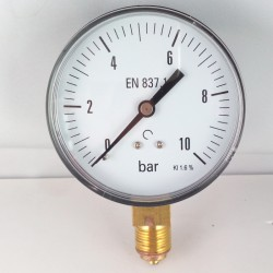 Dry pressure gauge 10 Bar diameter dn 80mm bottom connection
