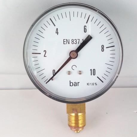 Dry pressure gauge 10 Bar diameter dn 80mm bottom connection