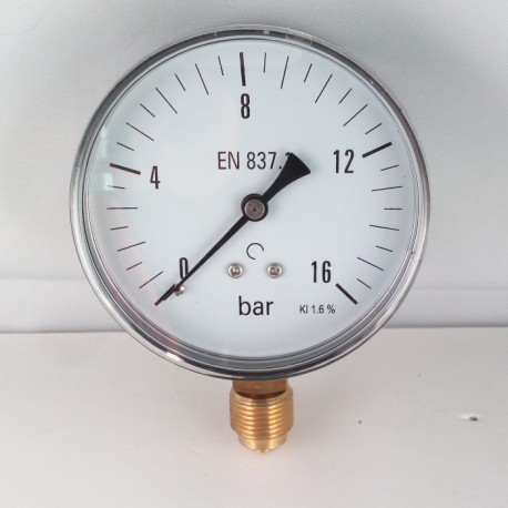Dry pressure gauge 16 Bar diameter dn 80mm bottom connection