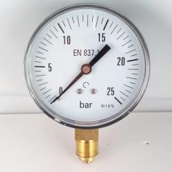 Manometro 25 Bar diametro dn 80mm attacco radiale