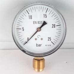 "Manometro 25 Bar diametro dn 80mm radiale 1/2""gas"