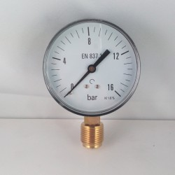 "Manometro 16 Bar diametro dn 80mm radiale 1/2""gas"