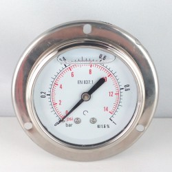 1 Bar glycerine filled pressure gauge flanged diameter dn 63mm