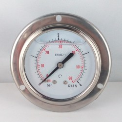 4 Bar glycerine filled pressure gauge flanged diameter dn 63mm