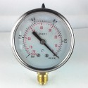 Glycerine filled pressure gauge -1 Bar diameter dn 63mm bottom