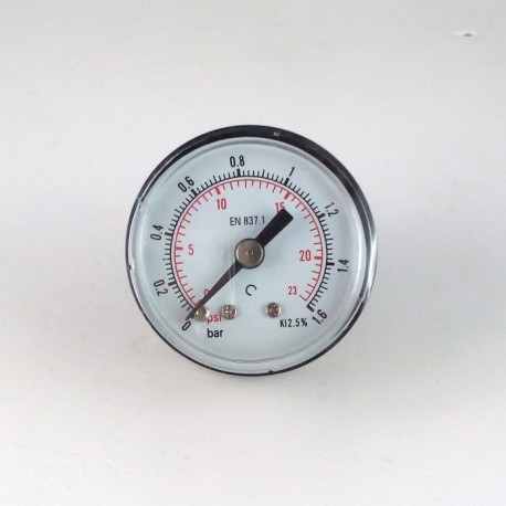 Dry pressure gauge 1,6 Bar diameter dn 40mm back