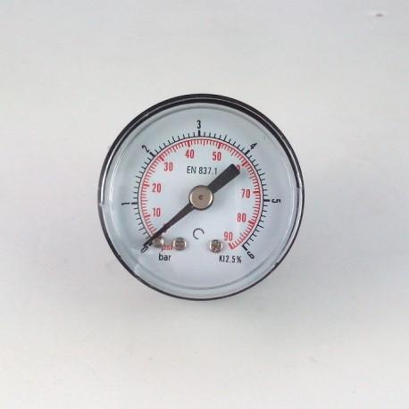 Manometro 6 Bar diametro dn 40mm posteriore