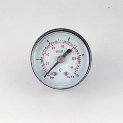 Dry pressure gauge 10 Bar diameter dn 40mm back
