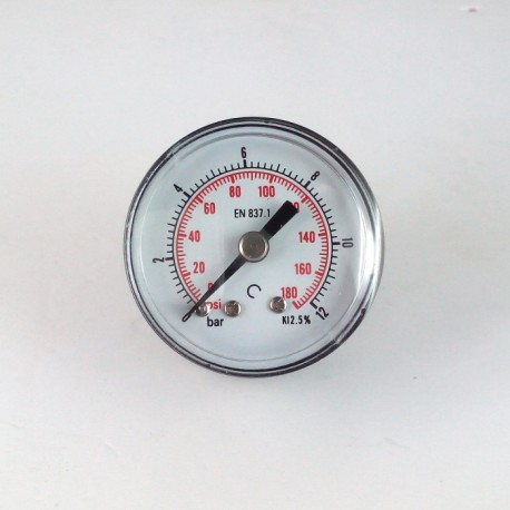 Dry pressure gauge 12 Bar diameter dn 40mm back