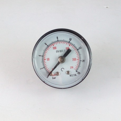 Dry pressure gauge 16 Bar diameter dn 40mm back