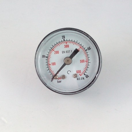 Dry pressure gauge 40 Bar diameter dn 40mm back