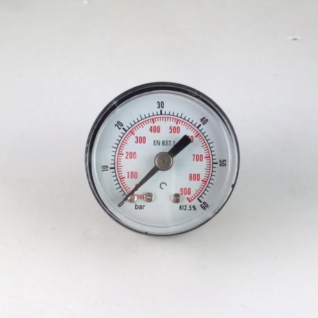 Dry pressure gauge 60 Bar diameter dn 40mm back