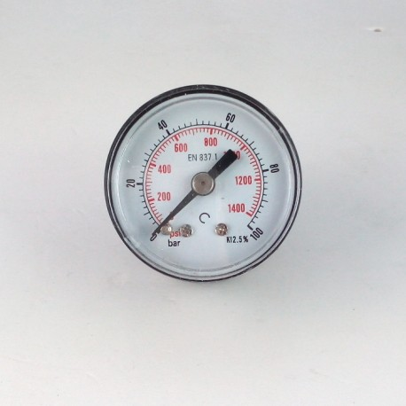 Dry pressure gauge 100 Bar diameter dn 40mm back