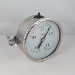 -1+0,6 Bar glycerine filled compound gauge u-clamp diameter dn 63mm