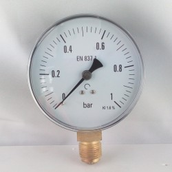 Dry pressure gauge 1 Bar diameter dn 100mm bottom